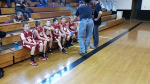 Seneca receives guidance during half time of the Championship Game